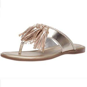 Anne Klein Adrienna Light Gold Tassel Thong Sandal